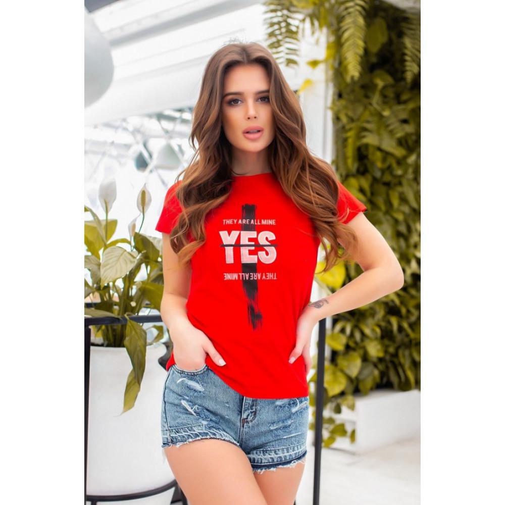 Красная футболка з принтом YES фото 2