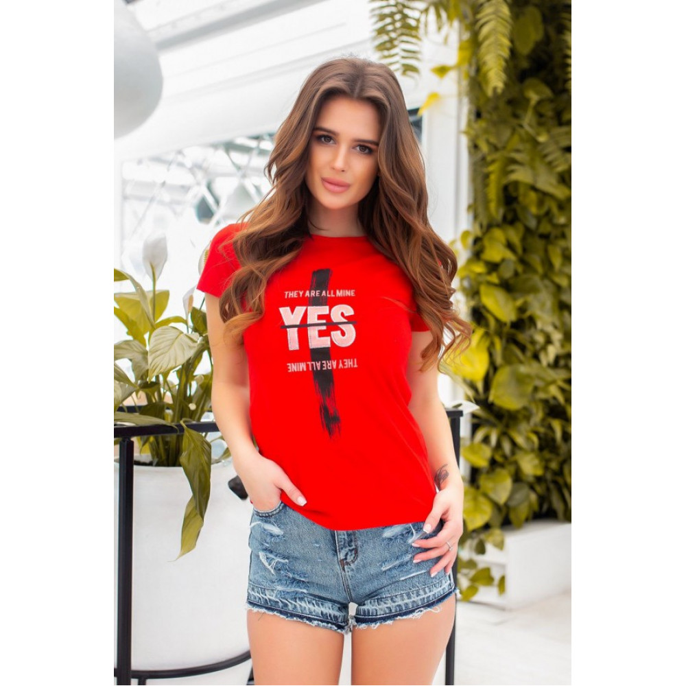 Красная футболка з принтом YES фото 3
