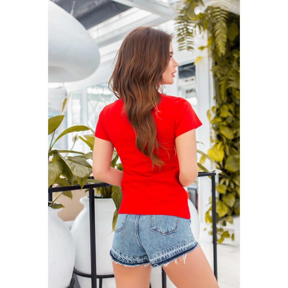Красная футболка з принтом YES фото 4