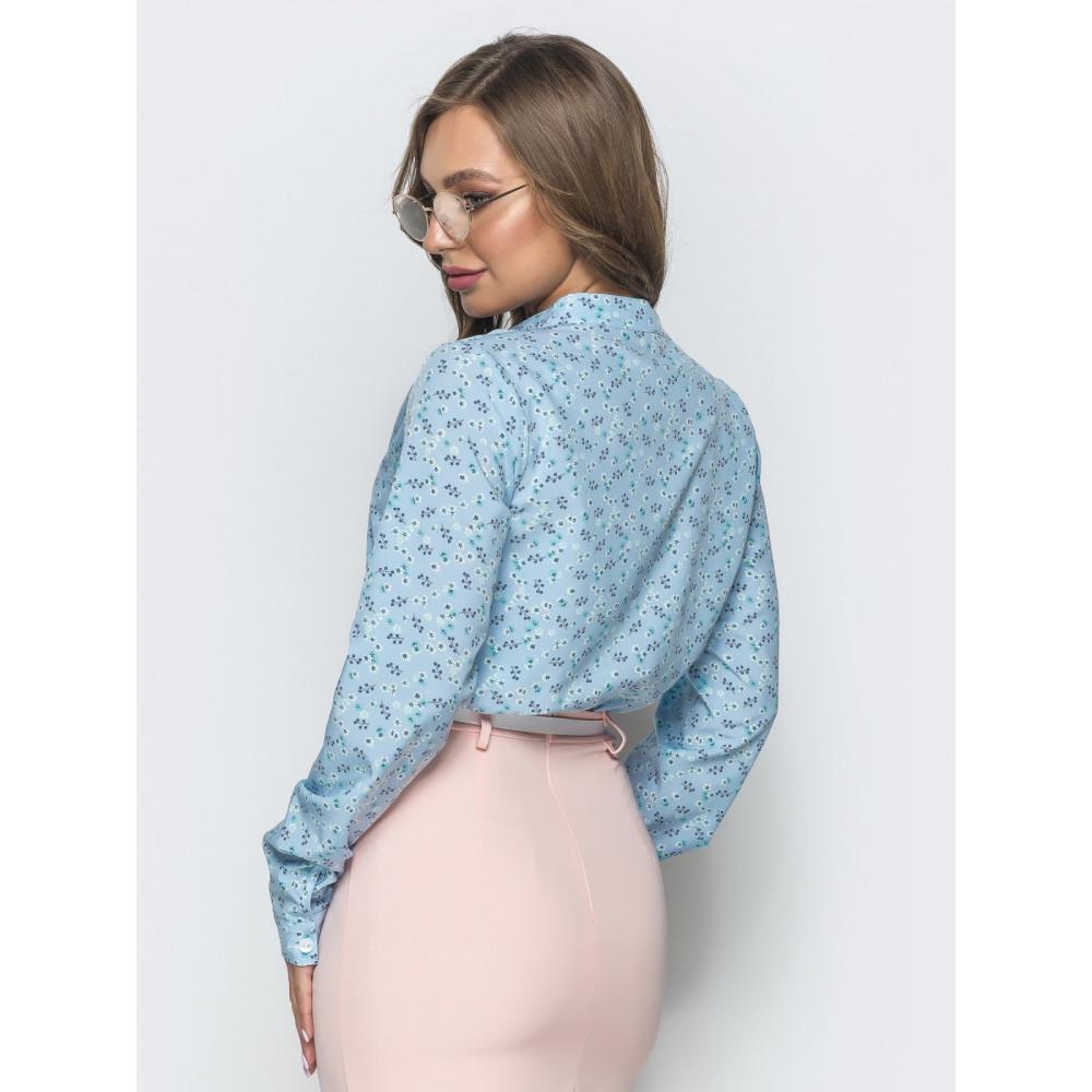 Женственная голубая блузка с рисунком Катрин фото 3