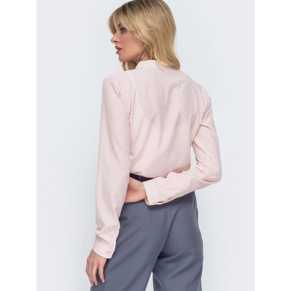 Легка розовая блузка в горох Катрин фото 2