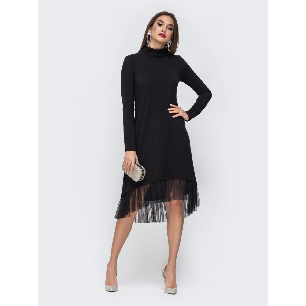 Красивое черное платье-гольф с оборкой фото 1