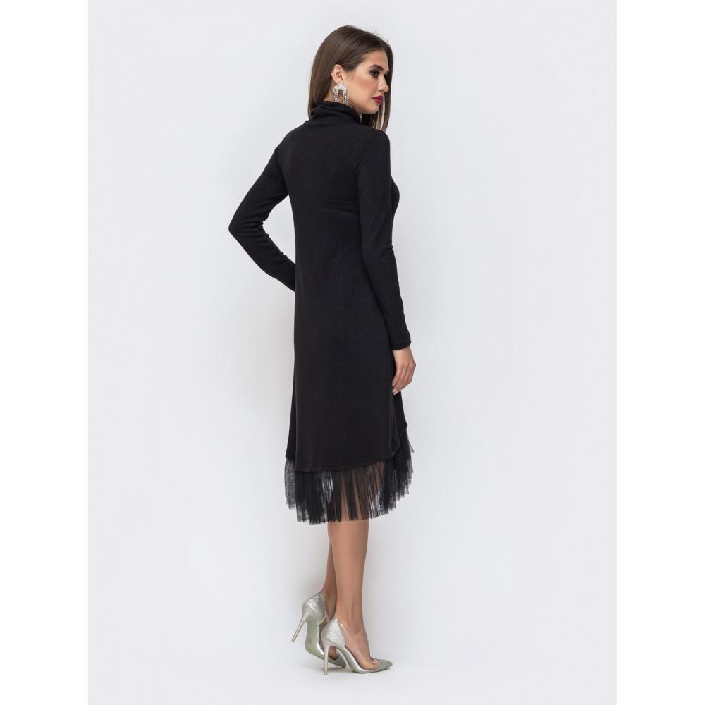 Красивое черное платье-гольф с оборкой фото 3