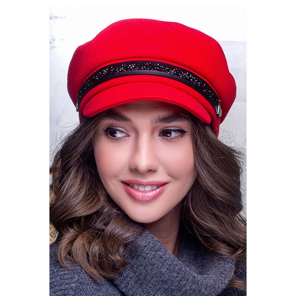Яскраво-червона стильна кепі Ніка фото 1