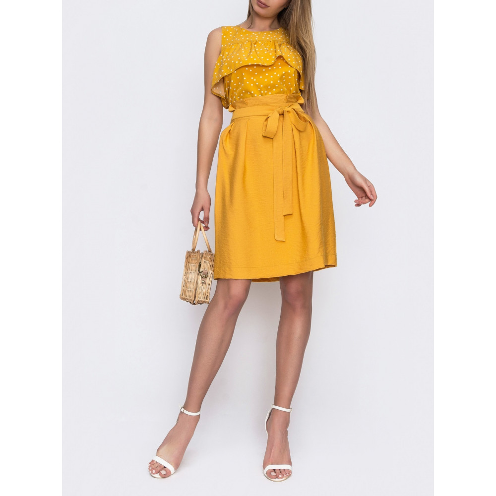 Желтая юбка с вшитым поясом фото 1