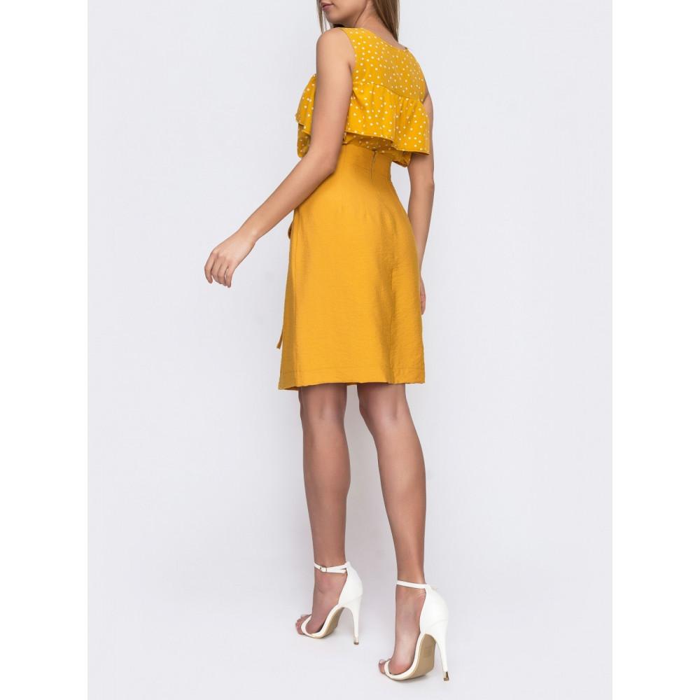 Желтая юбка с вшитым поясом фото 2