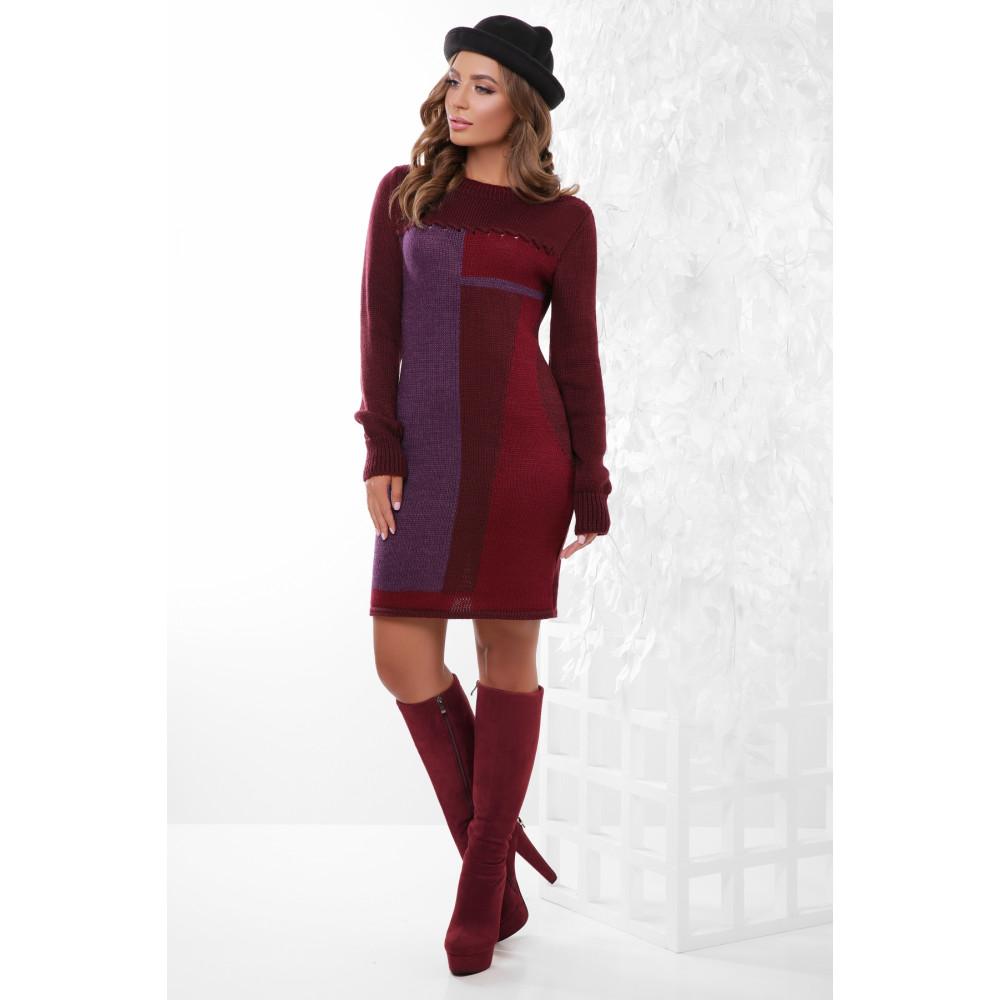 Красивое вязаное платье с принтом фото 1