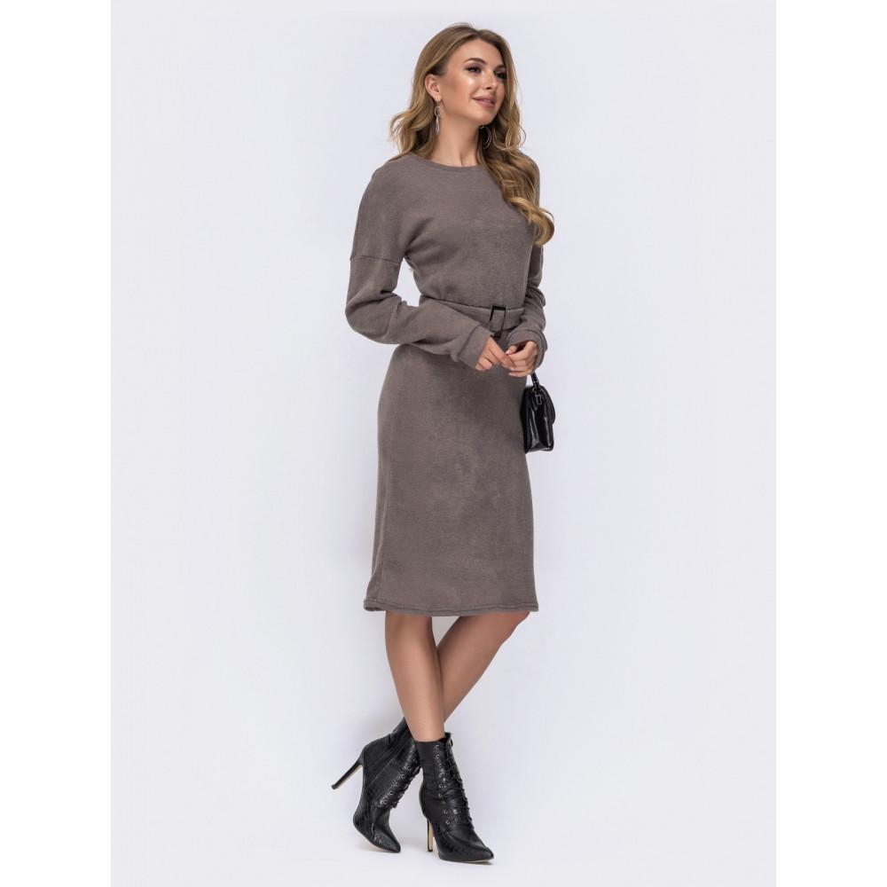 Бежевое платье-миди из теплой ангоры фото 2