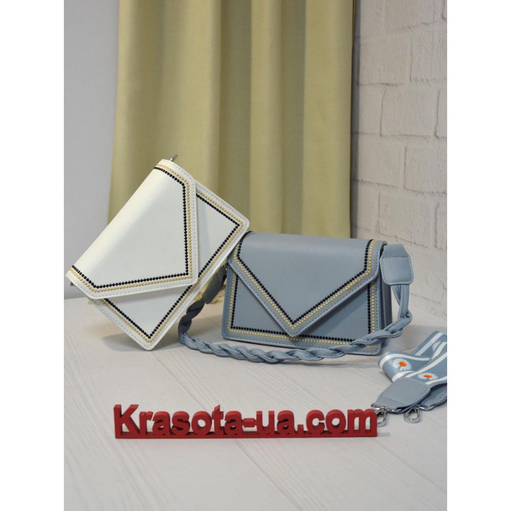 Голубая сумочка с контрастными строчками Абель фото 1