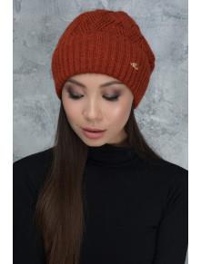 Терракотовая теплая шапка Жанет