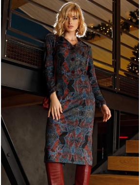 Платье-рубашка с необычным принтом Коломба