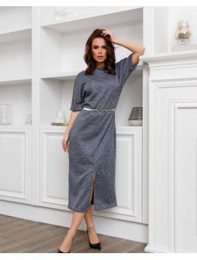 Сіра офісна сукня з розрізом спереді
