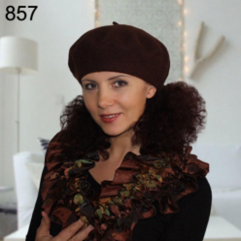 Коричневый шерстяной берет Флора-857 фото 1