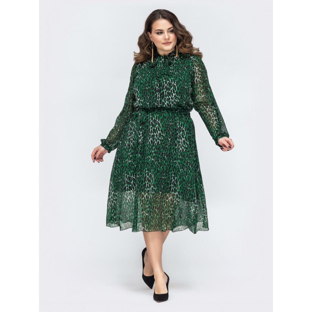 Изумрудное шифоновое платье с поясом фото 1
