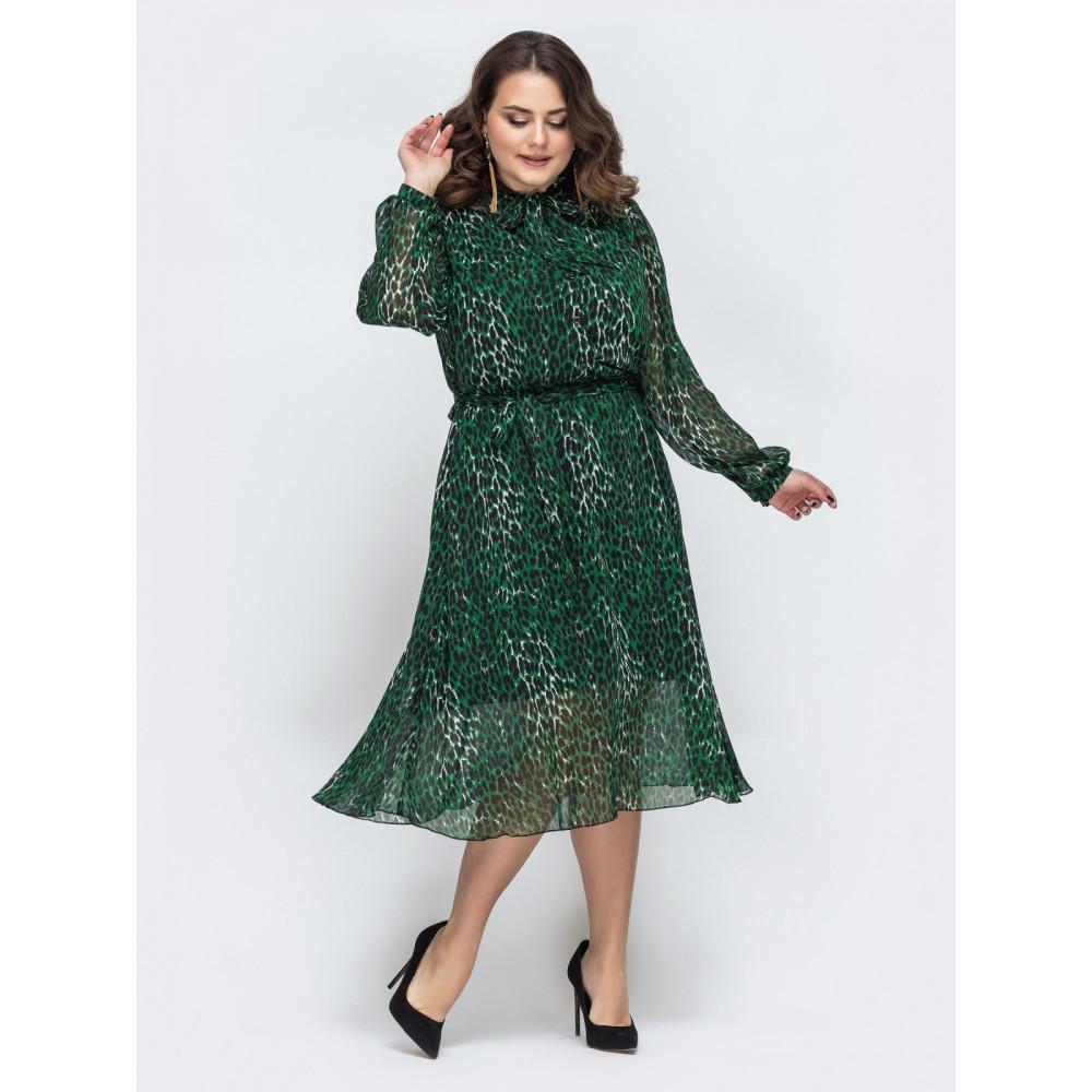 Изумрудное шифоновое платье с поясом фото 2