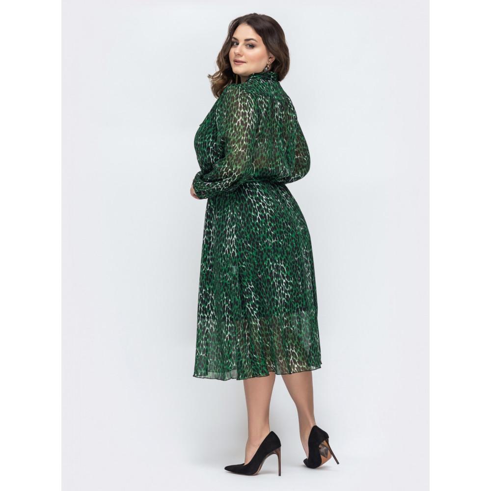 Изумрудное шифоновое платье с поясом фото 3