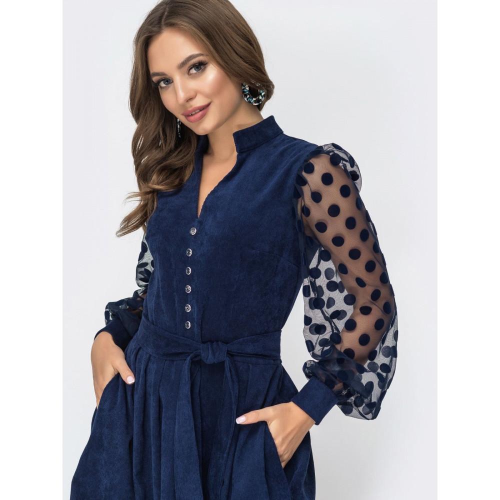 Вельветовое платье с пышной юбкой фото 1