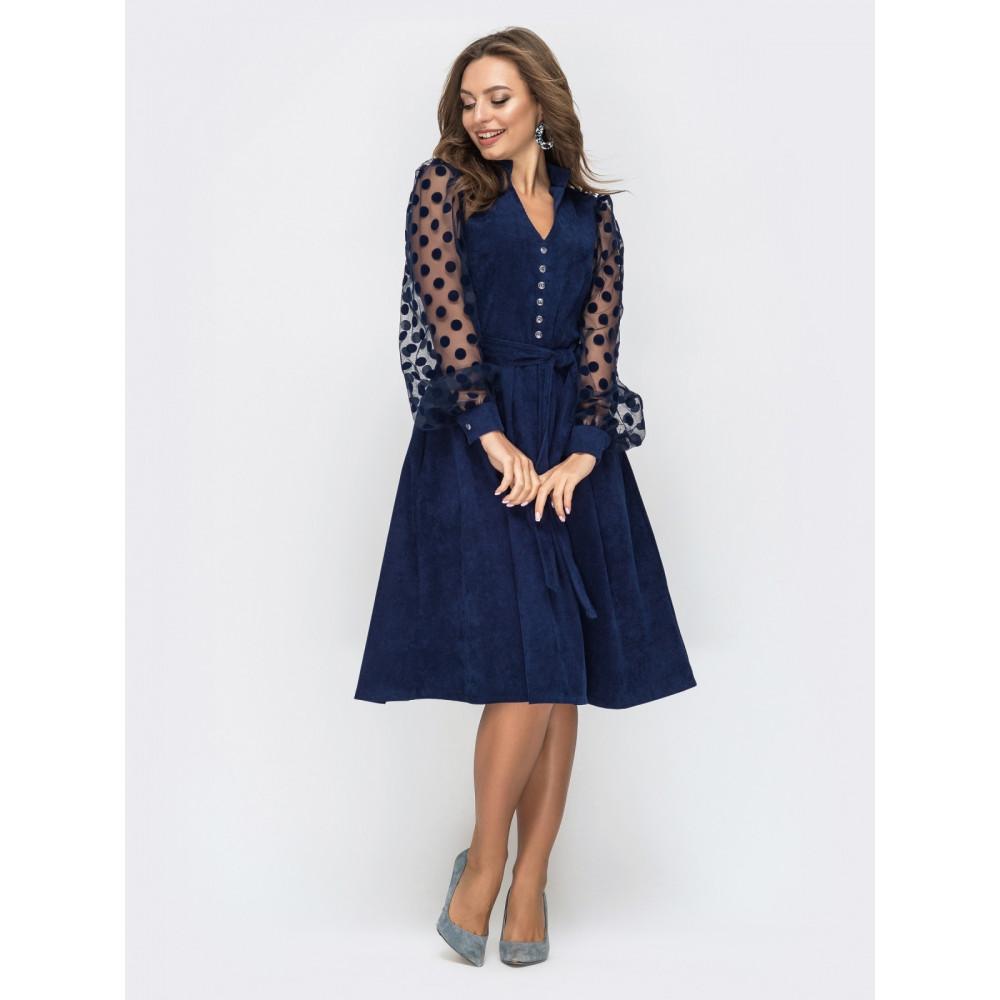 Вельветовое платье с пышной юбкой фото 3