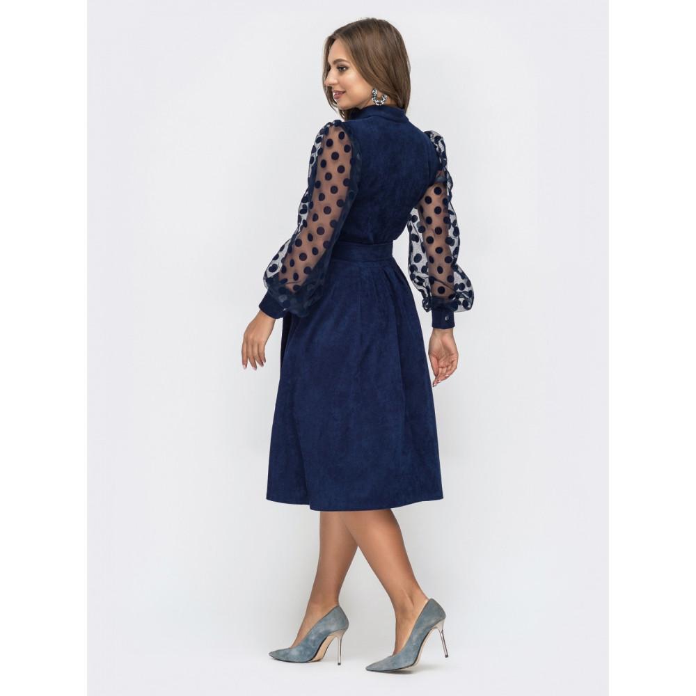 Вельветовое платье с пышной юбкой фото 4