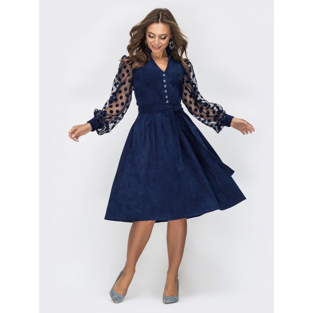 Вельветовое платье с пышной юбкой фото 2
