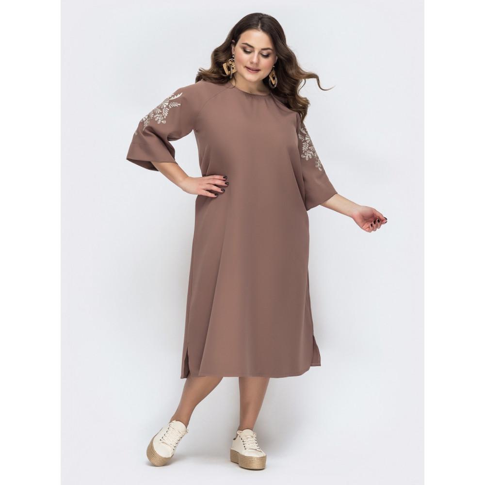 Люксовое платье с вышивкой на рукаве фото 1