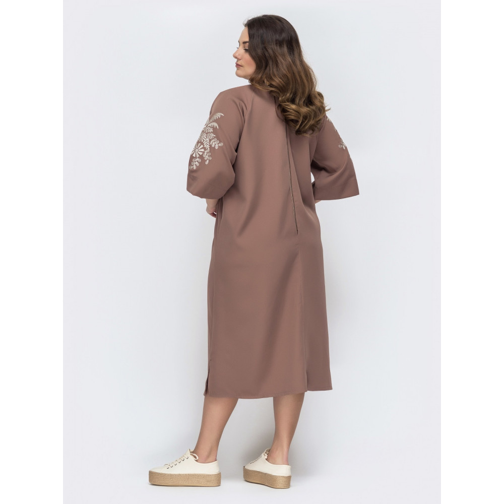 Люксовое платье с вышивкой на рукаве фото 2