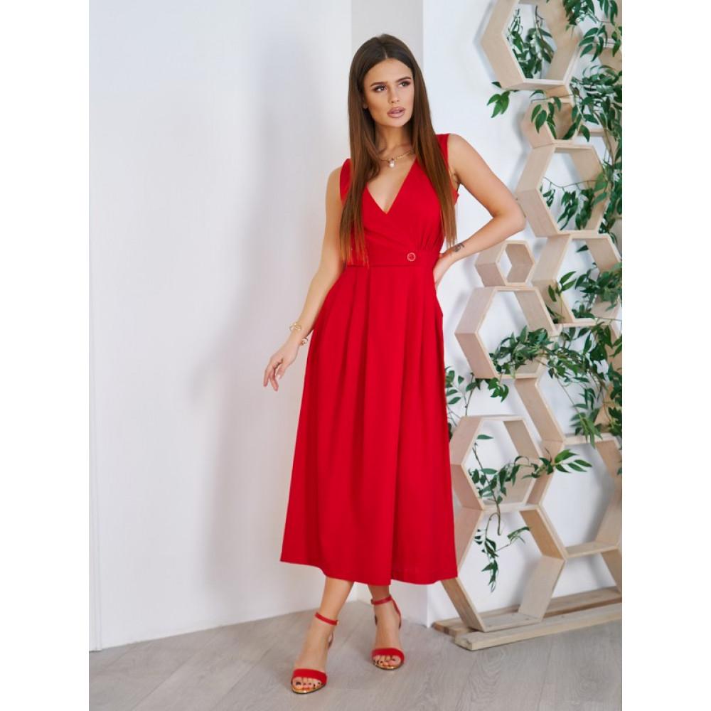 Красное платье-миди из хлопка Аксения фото 1