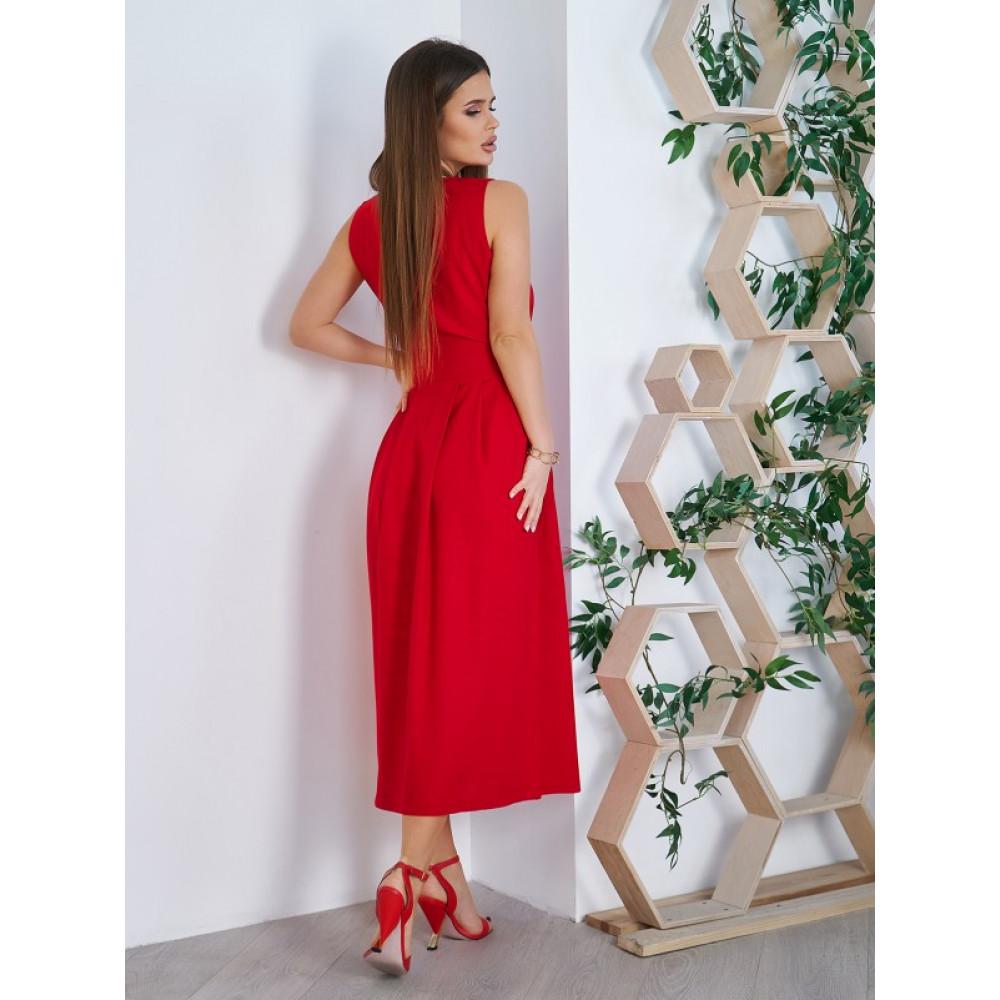 Красное платье-миди из хлопка Аксения фото 2