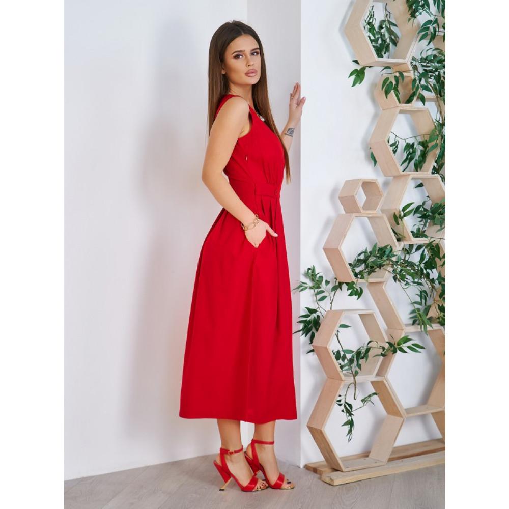 Красное платье-миди из хлопка Аксения фото 3