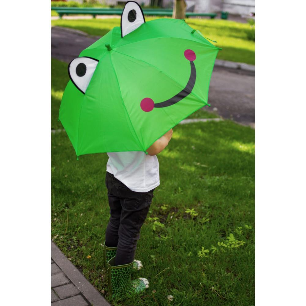Зеленый зонт-трость с ушками для деток  фото 1
