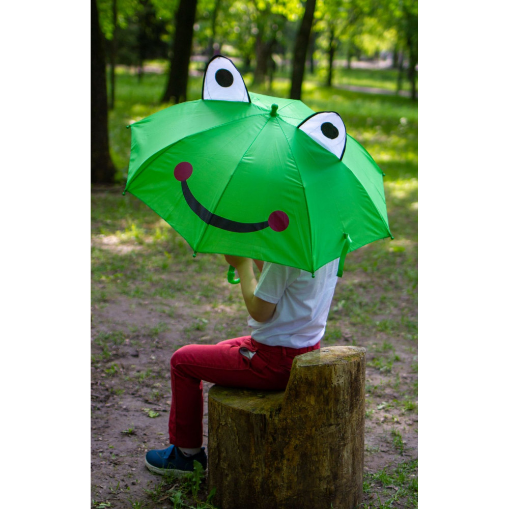 Зеленый зонт-трость с ушками для деток  фото 2