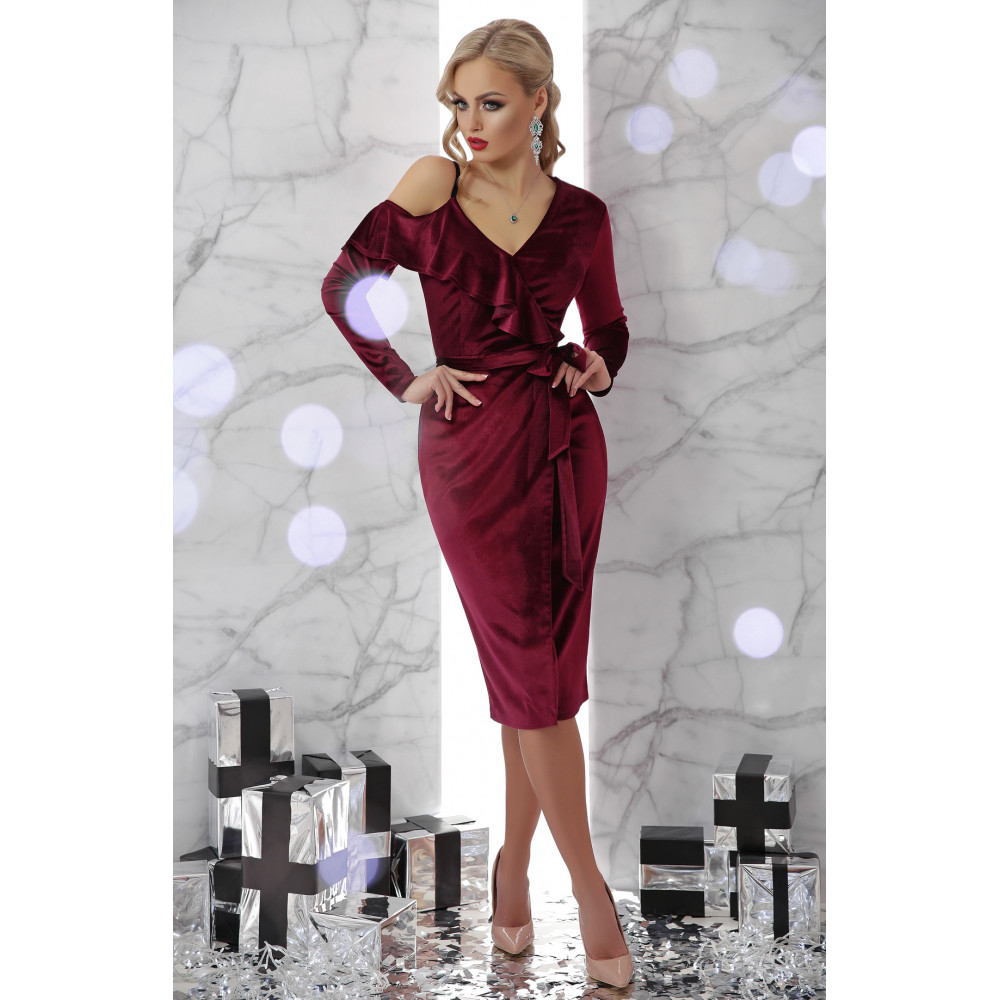 Бордовое платье из велюра Валерия фото 1