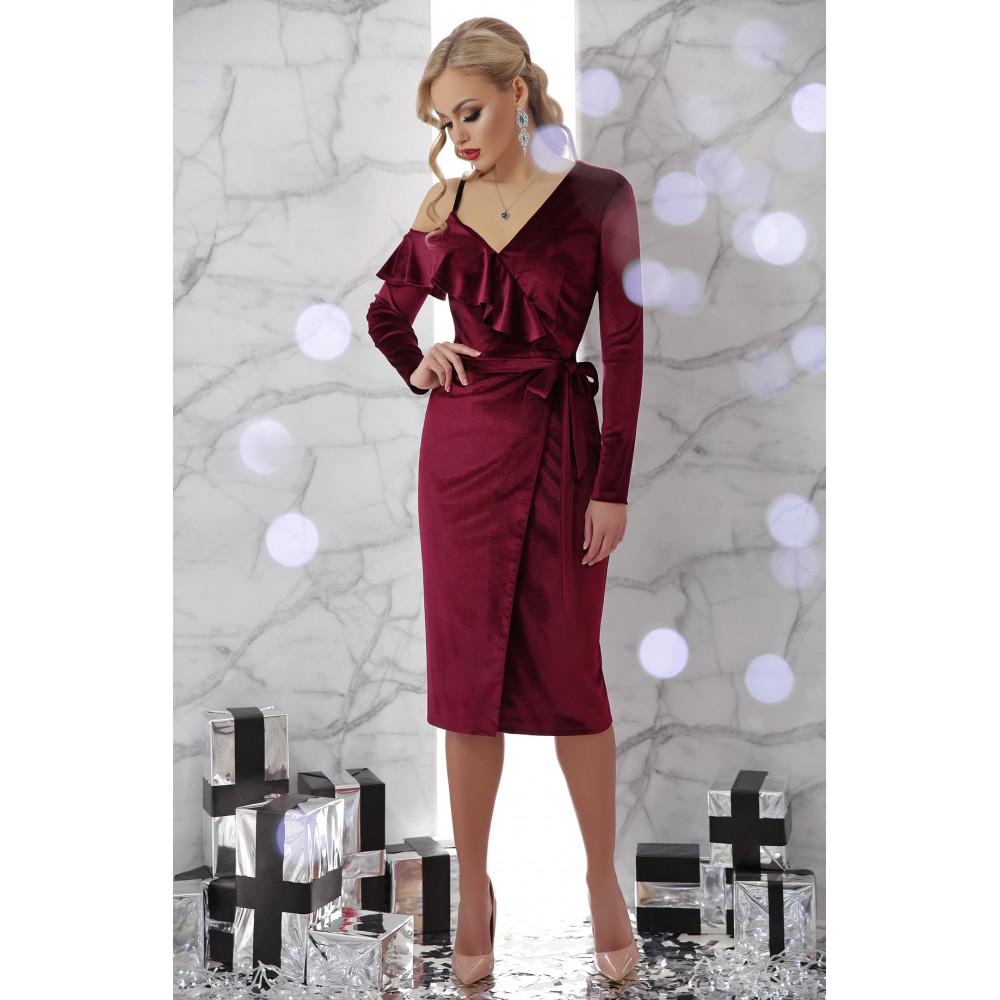 Бордовое платье из велюра Валерия фото 2
