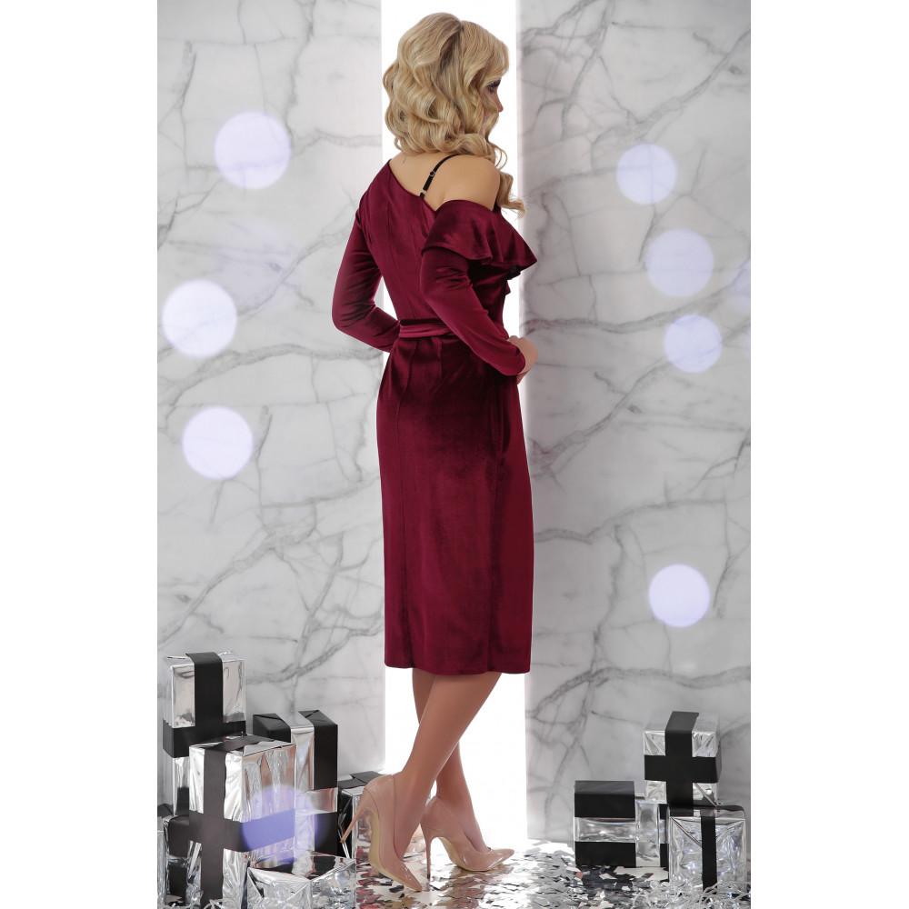 Бордовое платье из велюра Валерия фото 3