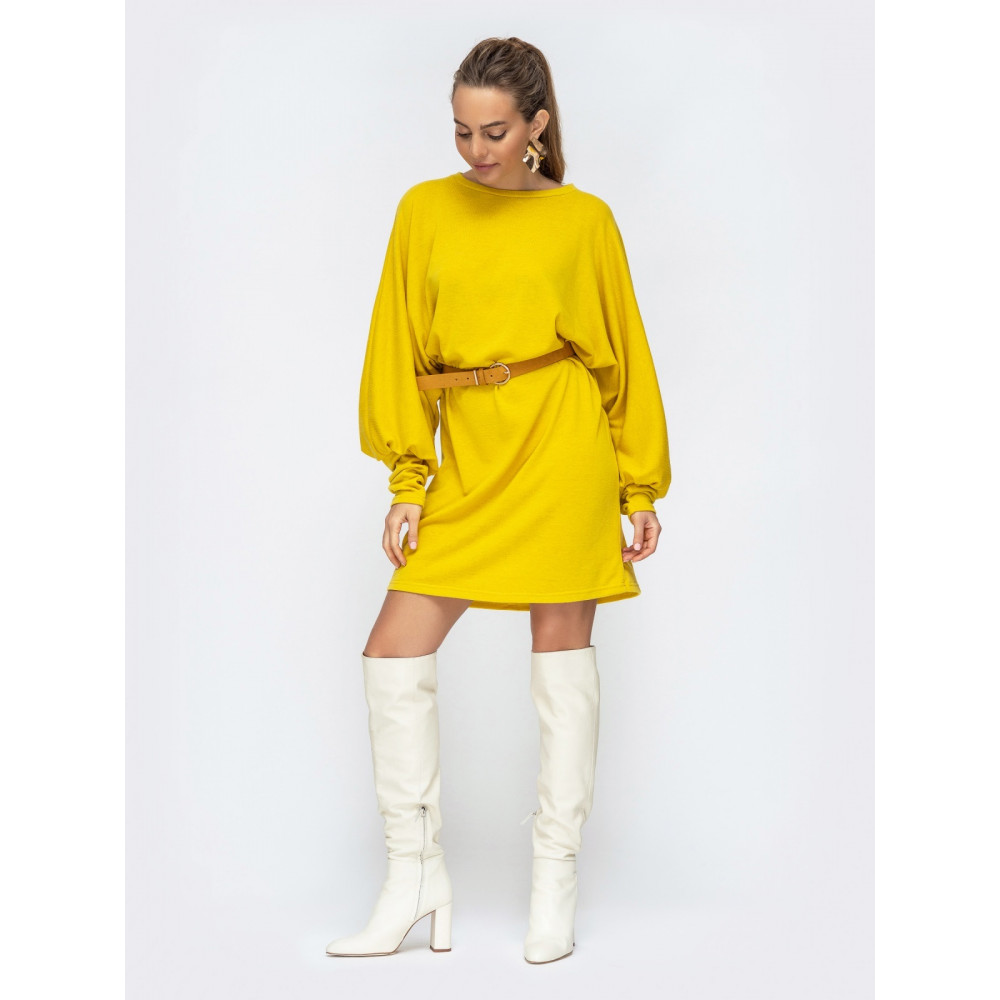 Желтое вязаное платье Марта фото 1