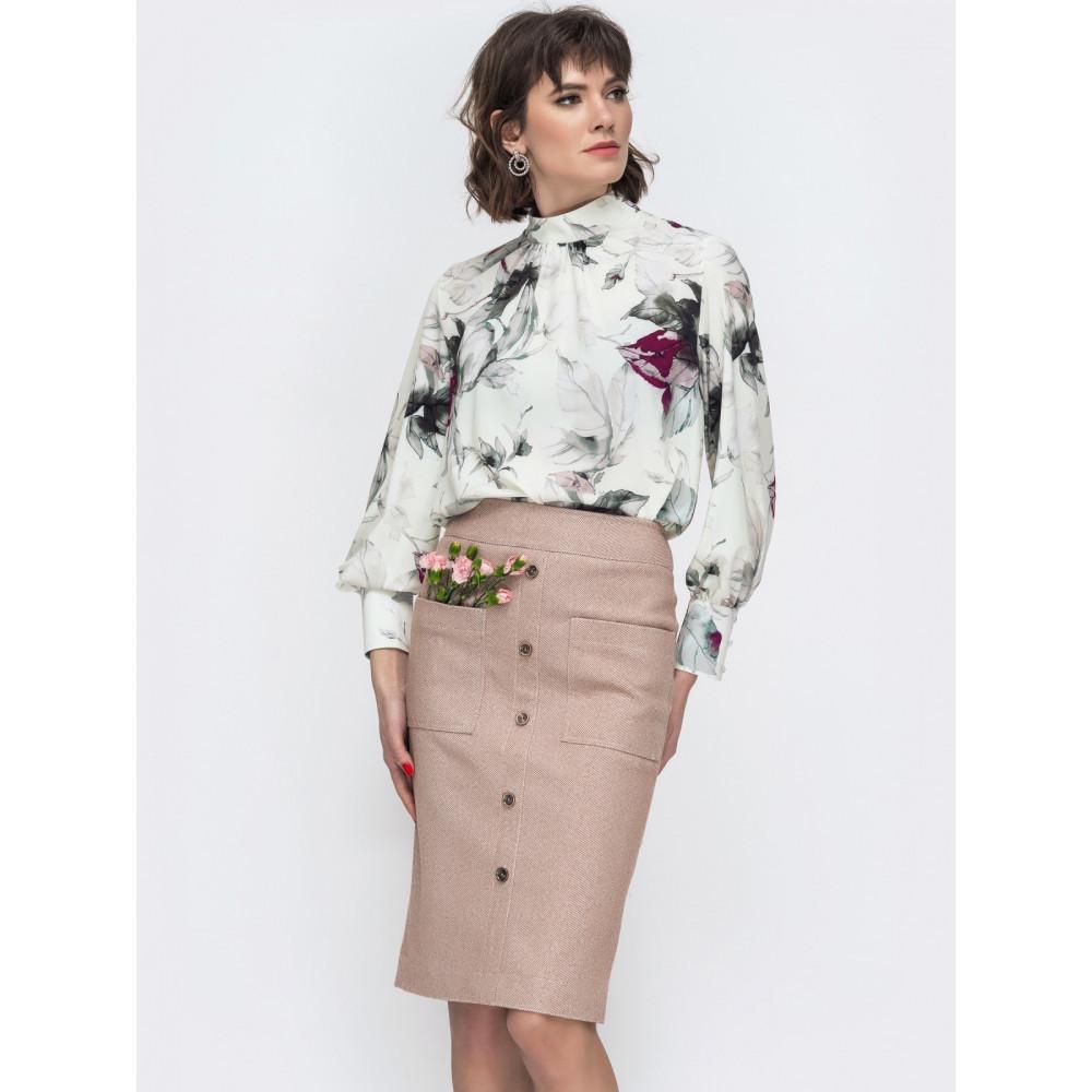 Интересная блуза в цветочный принт фото 2