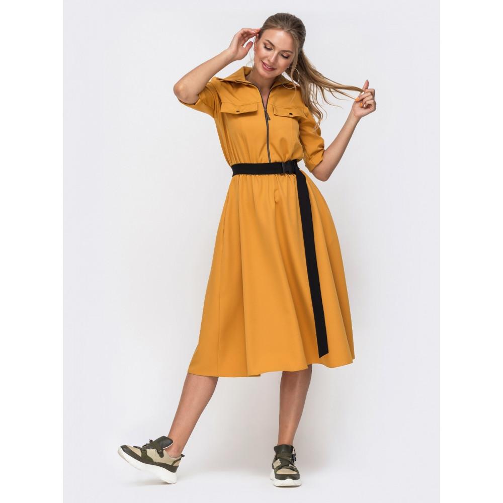 Горчичное платье-миди с поясом Кайла фото 1
