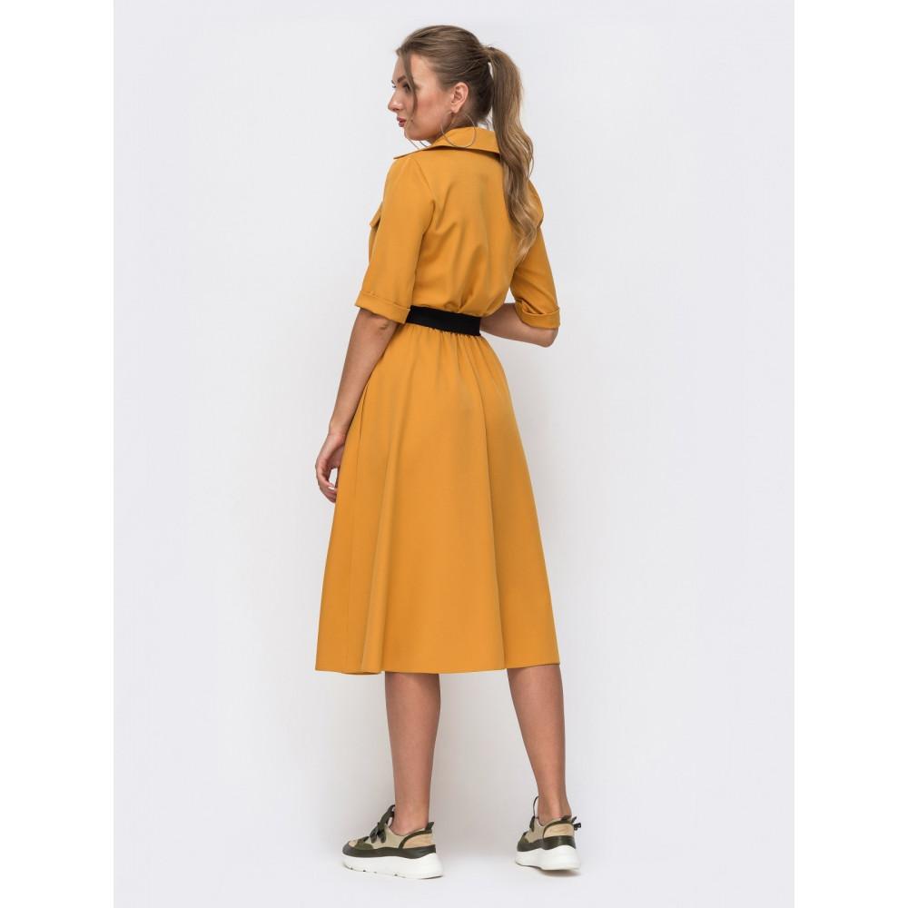 Горчичное платье-миди с поясом Кайла фото 2