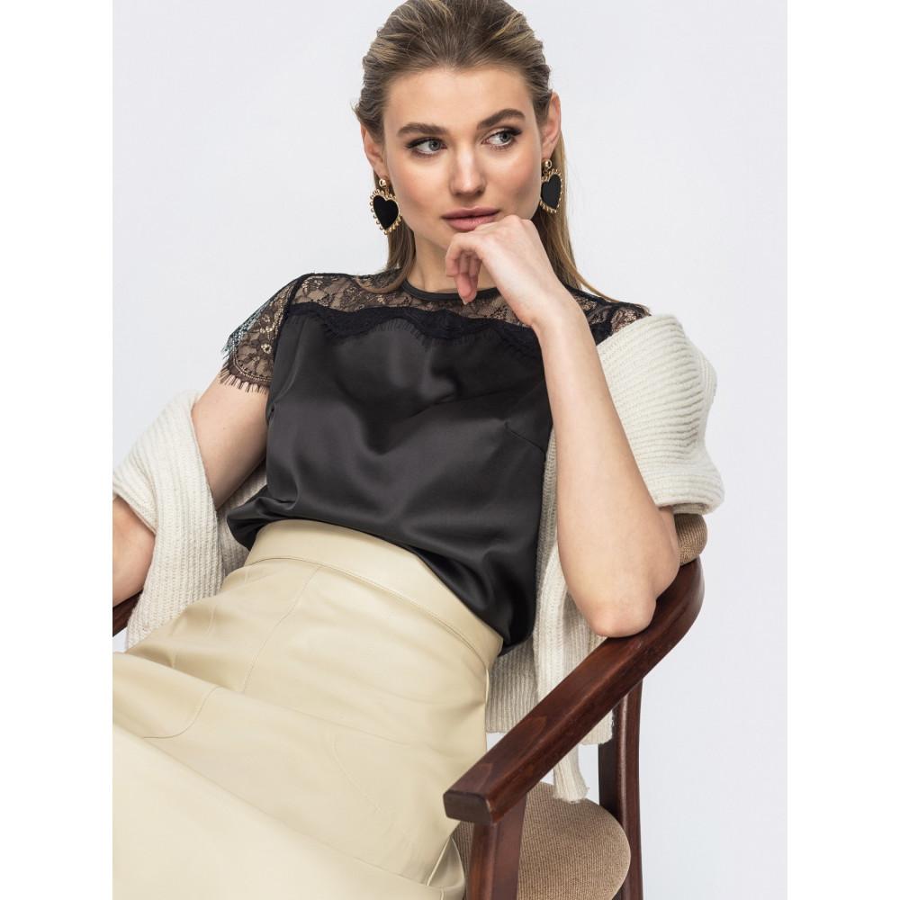 Блузка из шелка с вставками фото 1