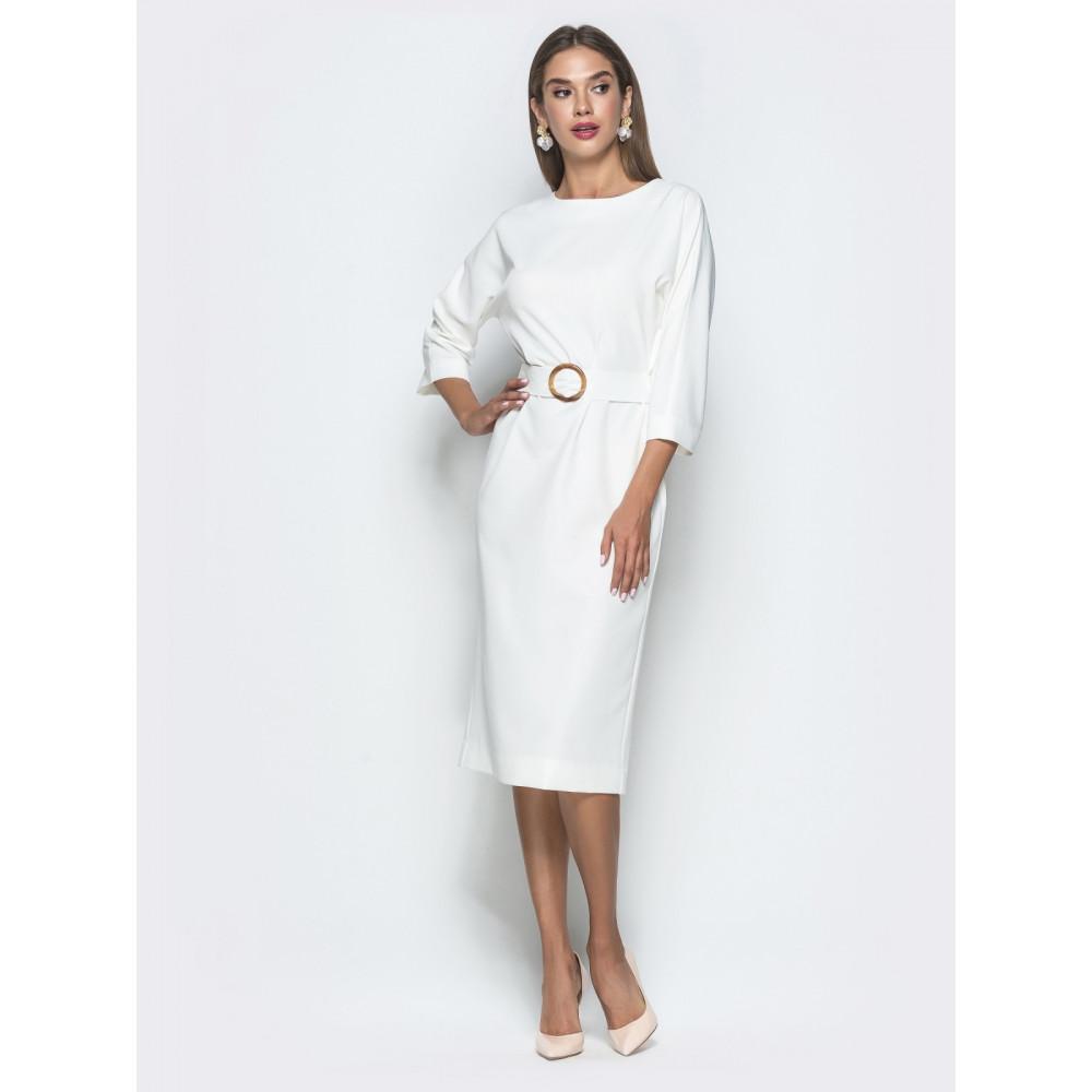 Белоснежное платье с оригинальной спинкой фото 1