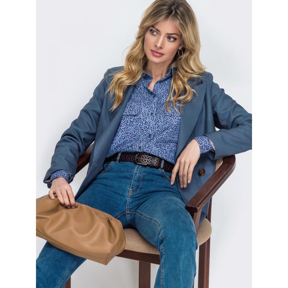 Крутая джинсовая рубашка в цветочный принт фото 1