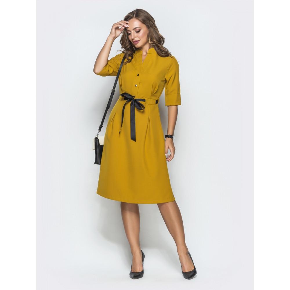 Кокетливое платье горчичного цвета фото 1