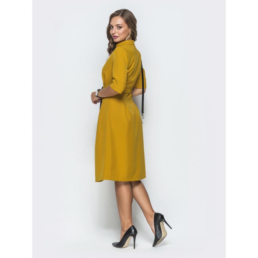 Кокетливое платье горчичного цвета фото 3