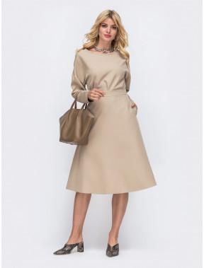 Однотонный комплект двойка: юбка и блузка
