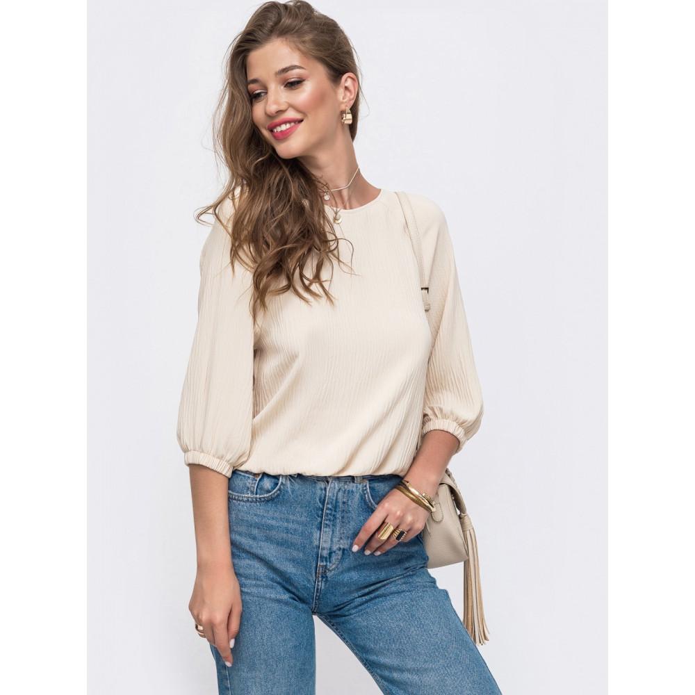 Бежевая блуза из фактурной ткани фото 1