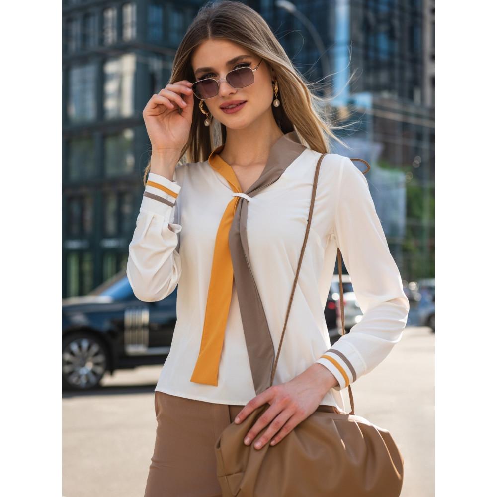 Блузка с контрастным «галстуком» фото 1