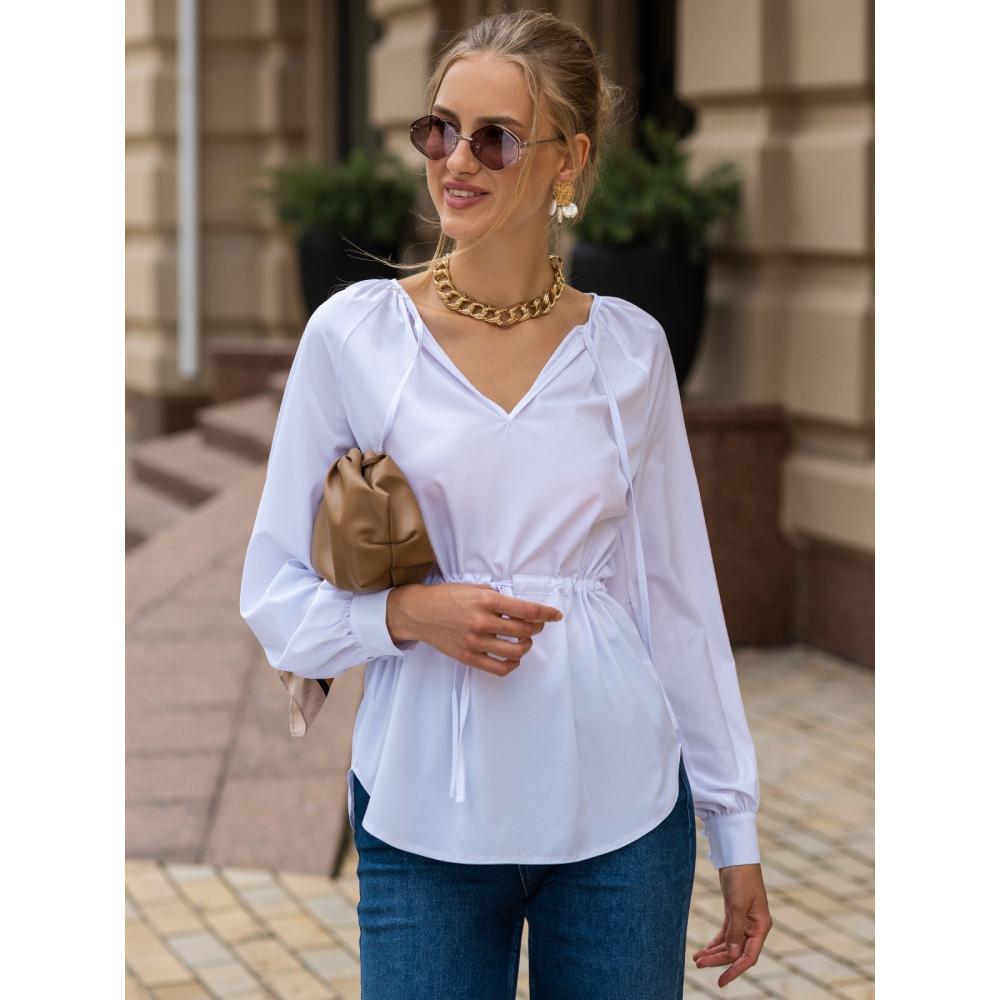 Белая блузка с кулиской фото 1