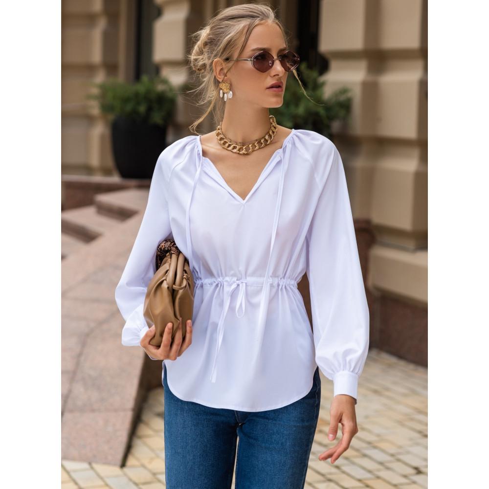 Белая блузка с кулиской фото 2
