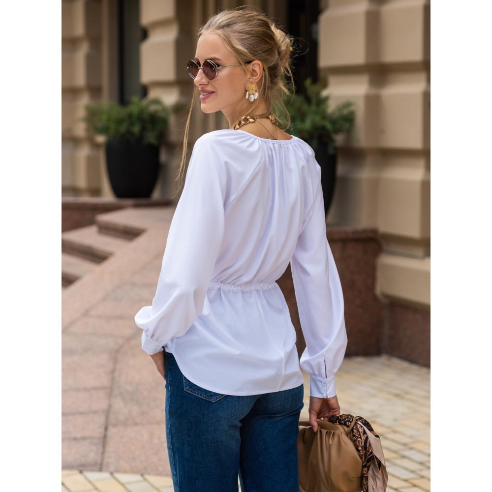 Белая блузка с кулиской фото 3
