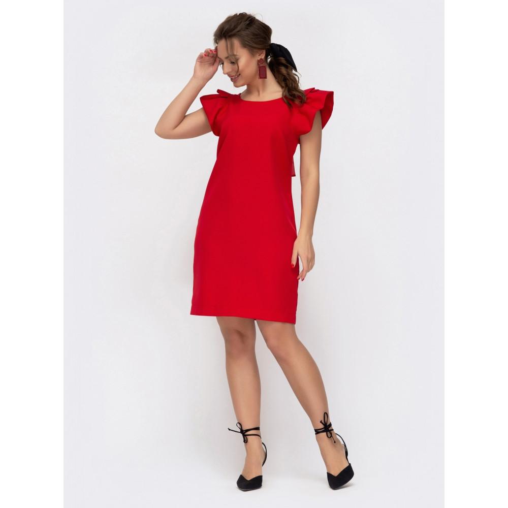 Красное платье из костюмной ткани Шарлотта фото 1